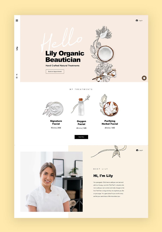 Ejemplo de plantilla web que sigue jerarquía de diseño