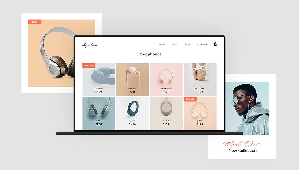 Imagen destacada, muestra una tienda en línea de audífonos en tres pantallas distintas