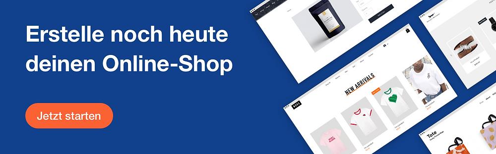 Werbebanner der Firma Wix mit Schriftzug: Erstelle noch heute deinen eigenen Online-Shop. Jetzt starten