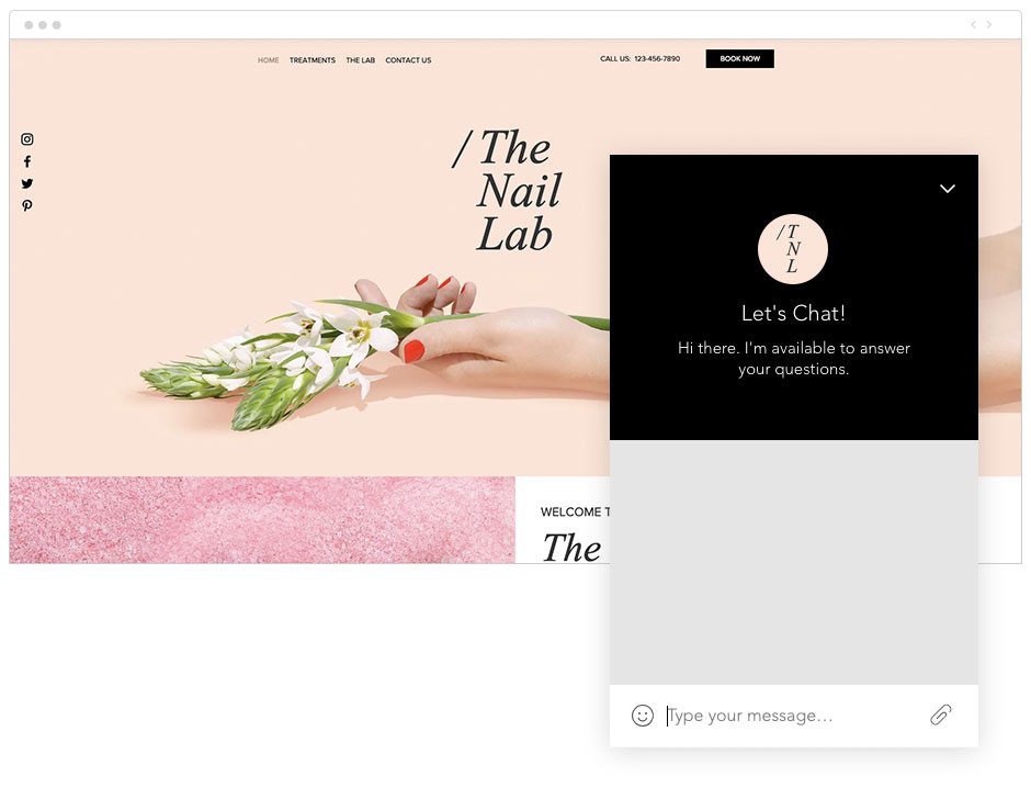 Screenshoot der Website mit Live Chat option und angepasstem Logo