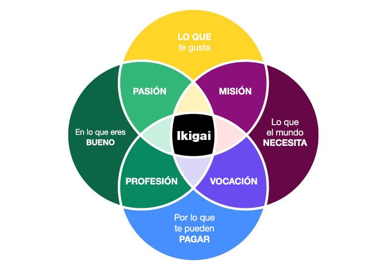Infográfica para explicar el IKIGAI con colores
