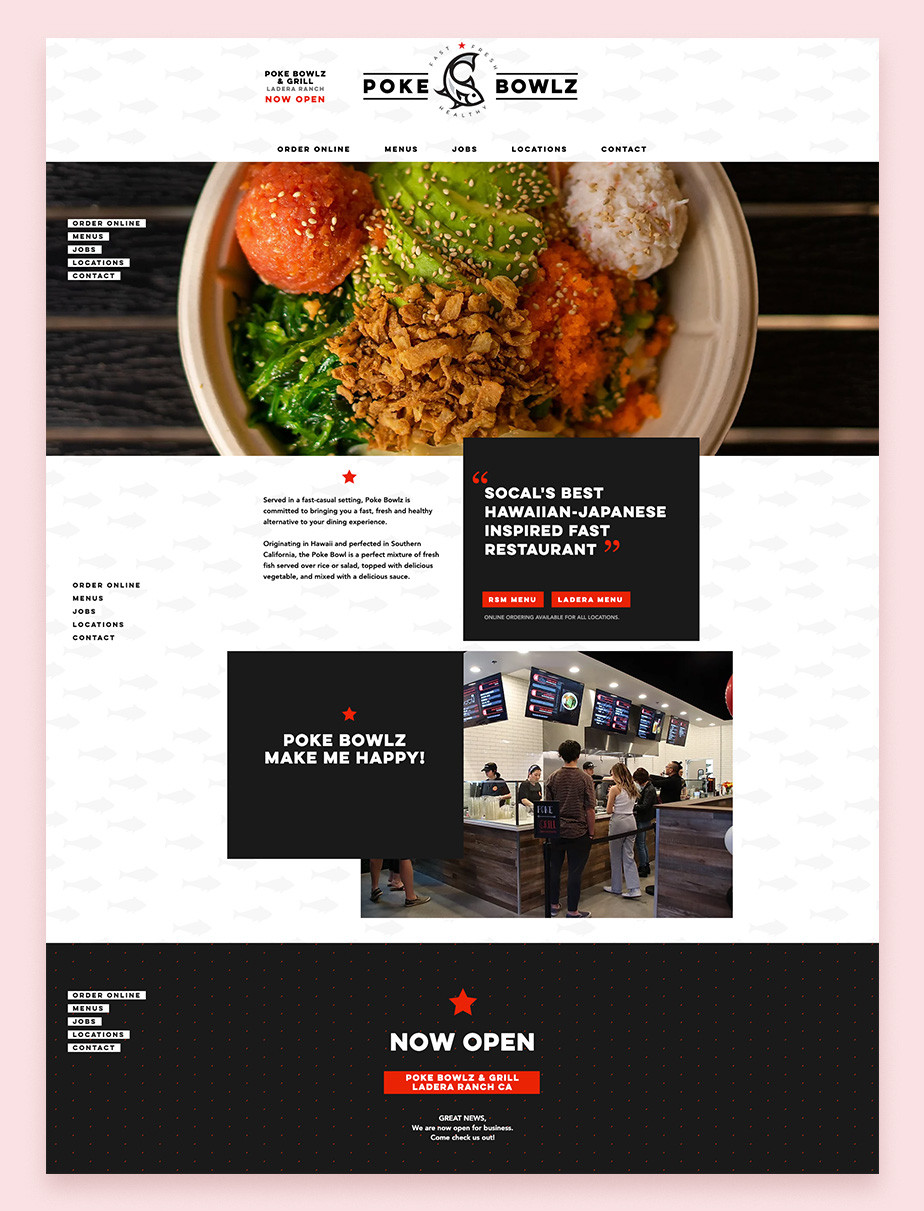 Ejemplo de página web del restaurante Poke Bowlz Wix