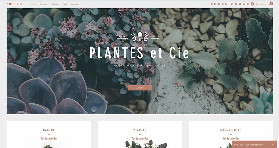 Template boutique en ligne de plantes