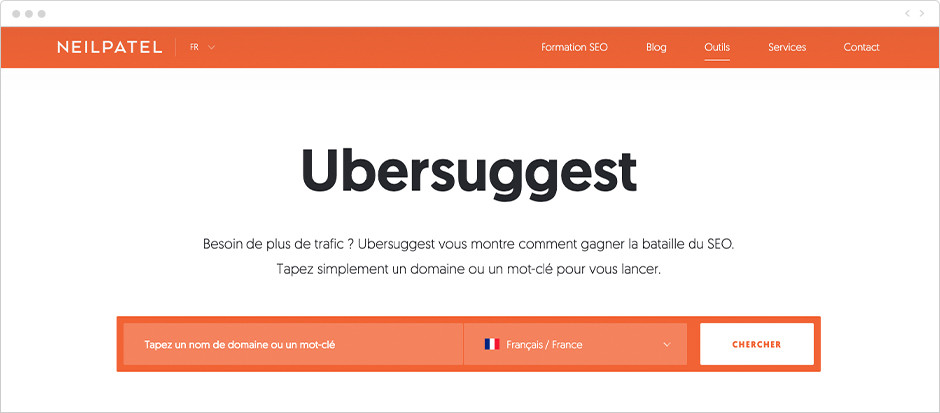 Les meilleurs outils - Ubersuggest