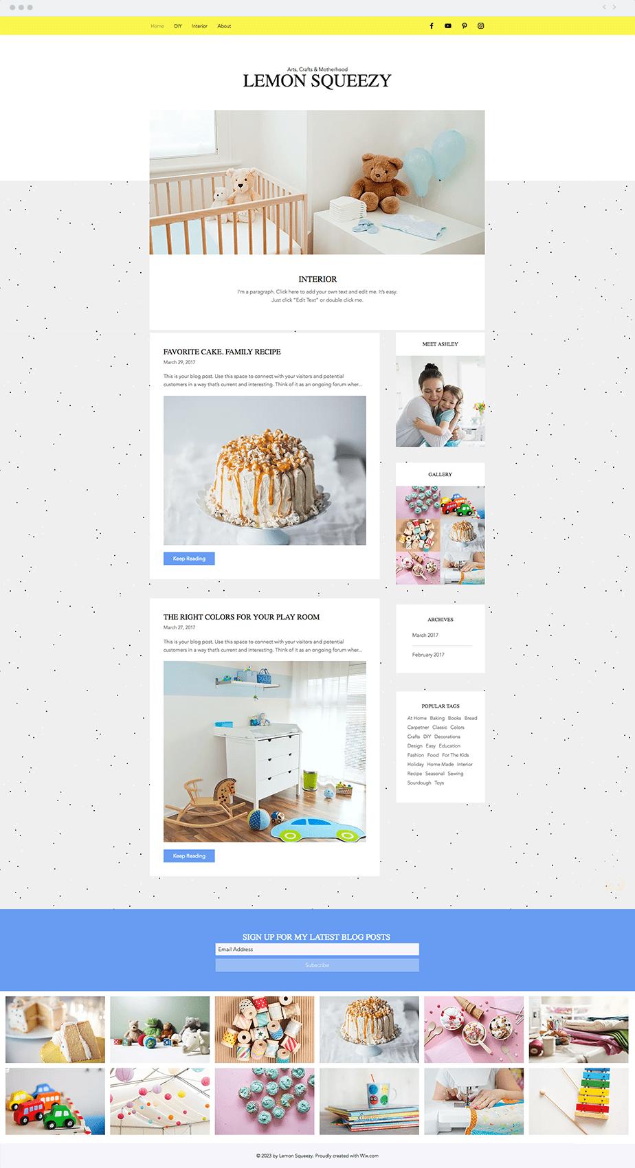 Template Wix DIY Blog