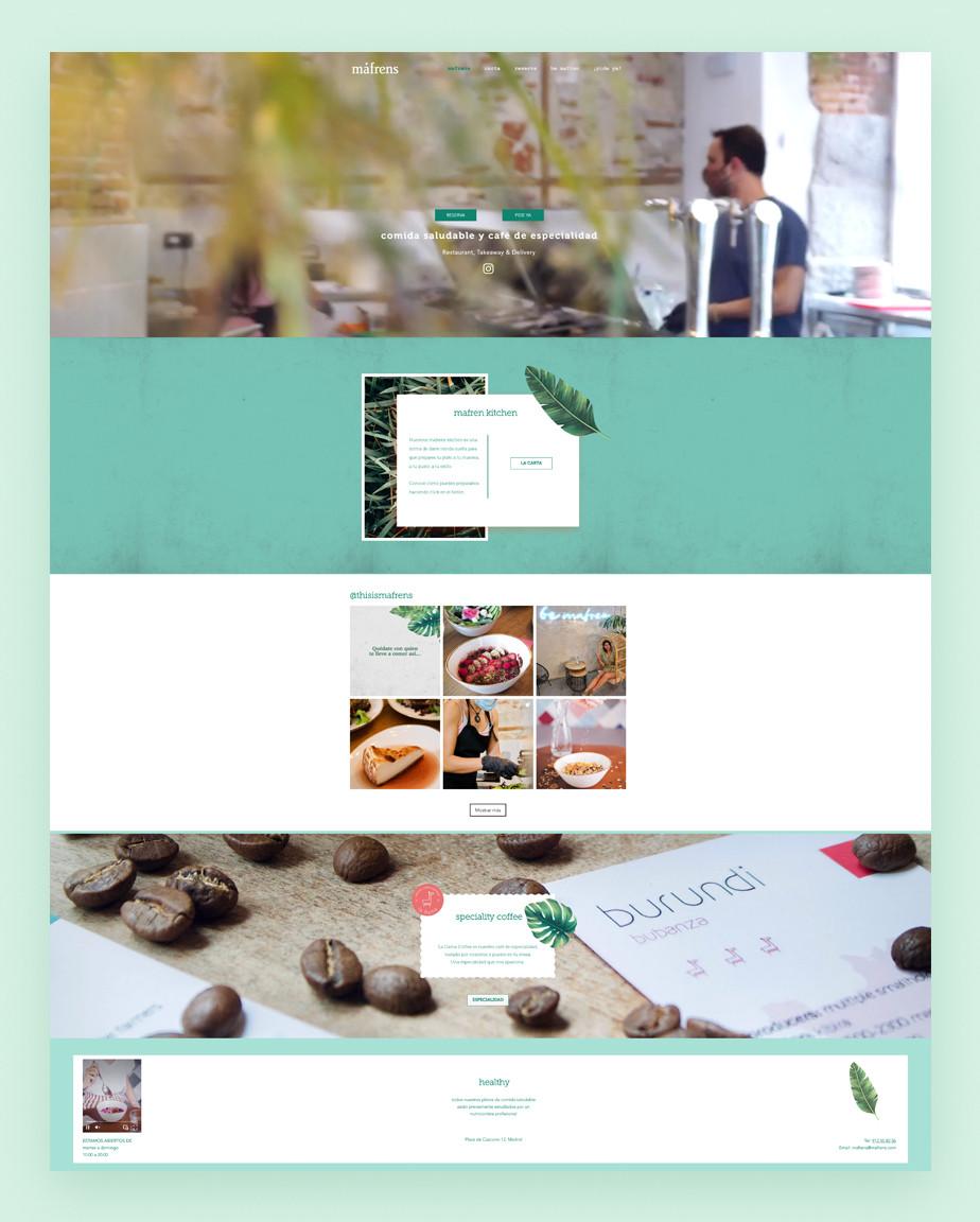 Ejemplo de sitio web de restaurante saludable