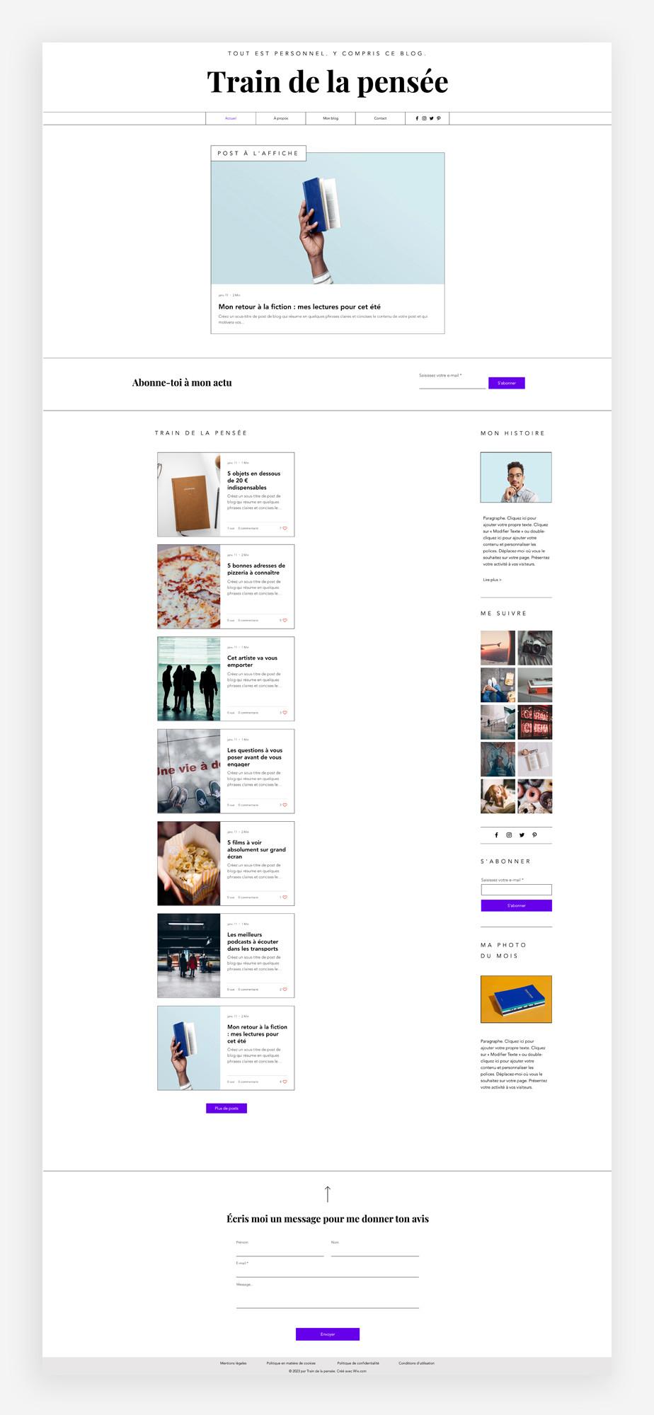 template de blog personnel