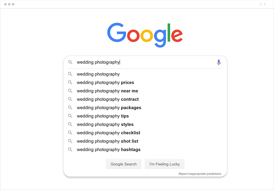 Google zoekwoordenlijst voorbeeld