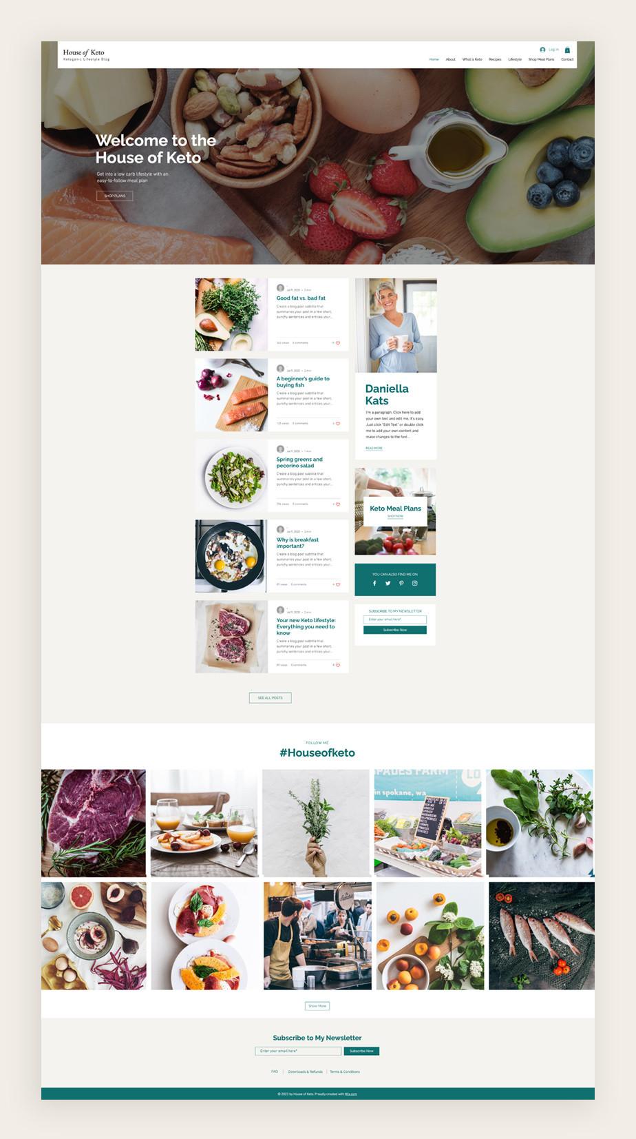 Blog Template von Wix für einen Ernährungs Blog