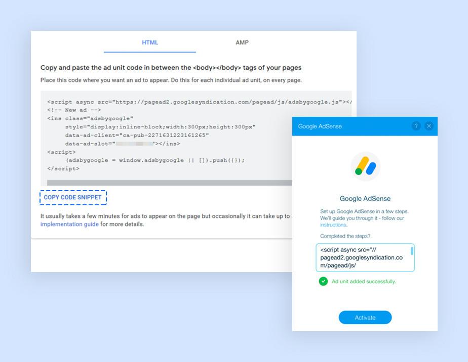 구글 애드센스에서 광고 코드를 복사하기 위해 코드 스니펫 복사를 클릭하는 이미지