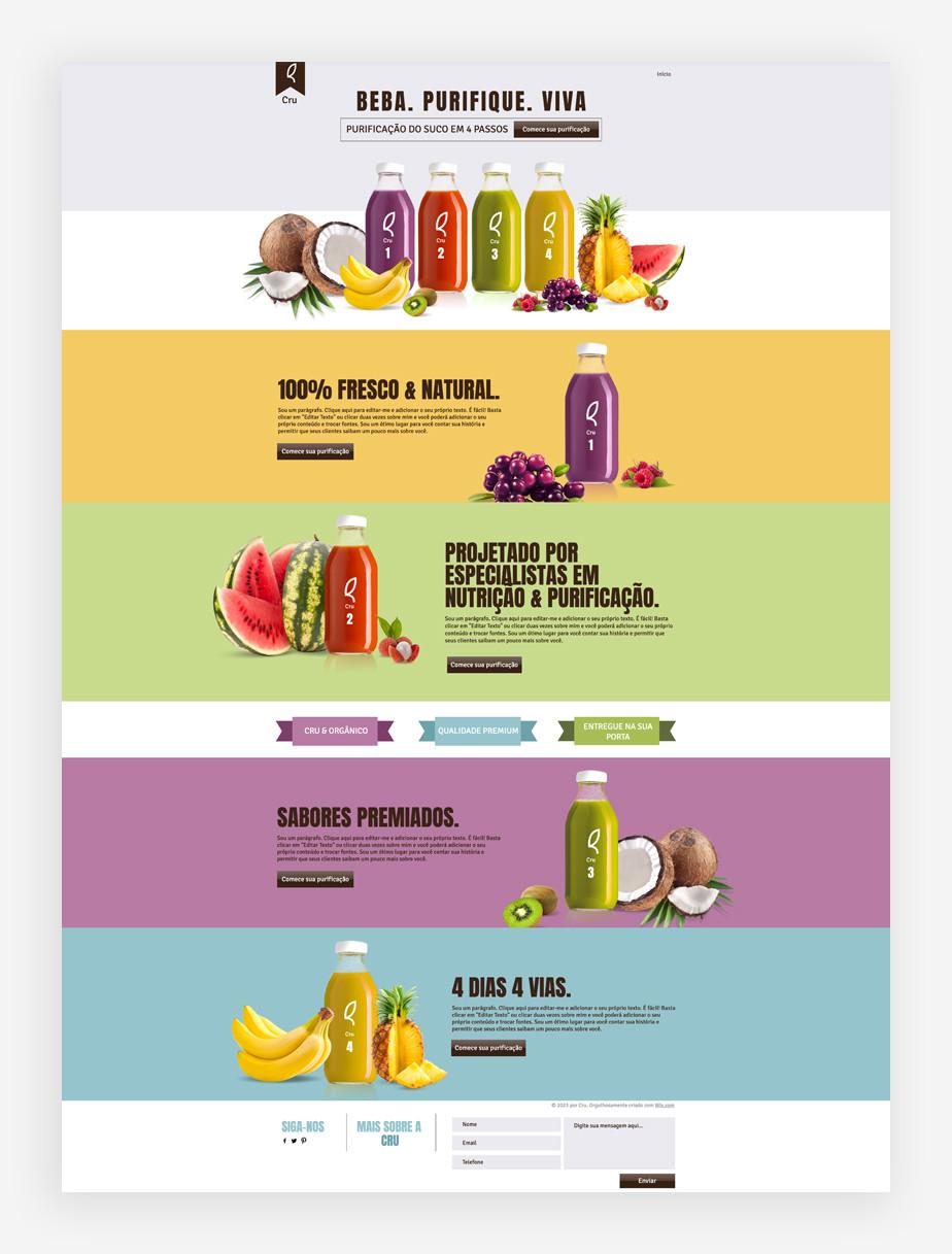 Captura de tela do template de landing page de página de produto