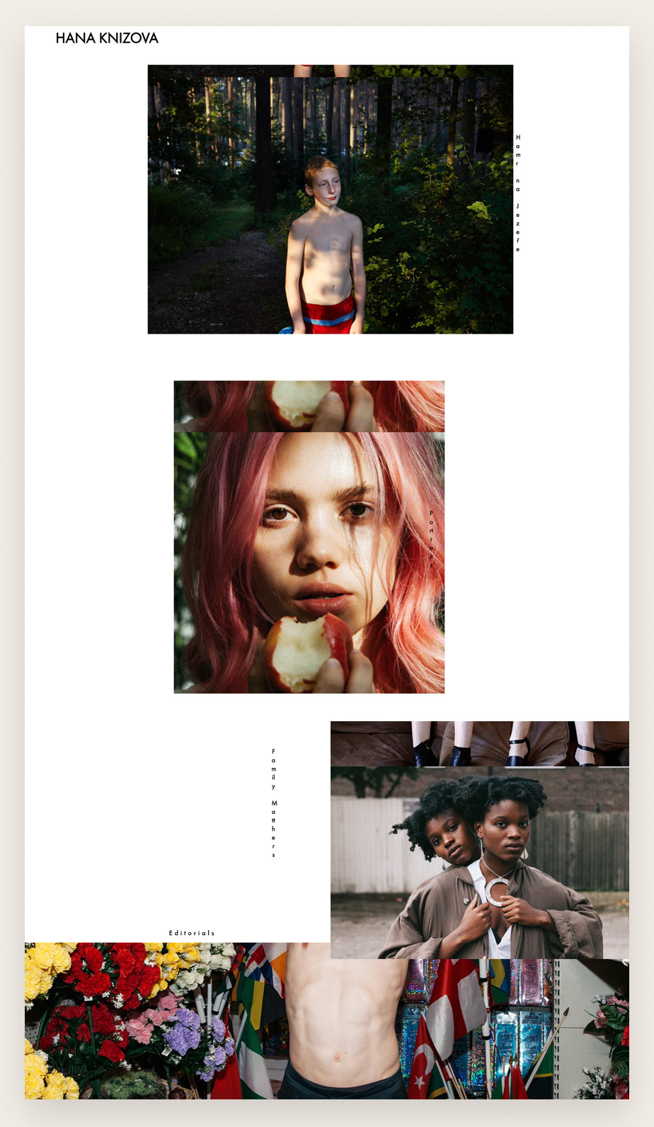 Screenshot do site de portfolio da fotógrafa Hana Knizova