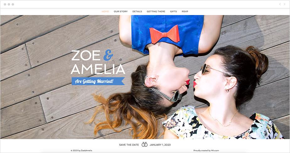 Plantilla Wix para invitación de boda web sencilla