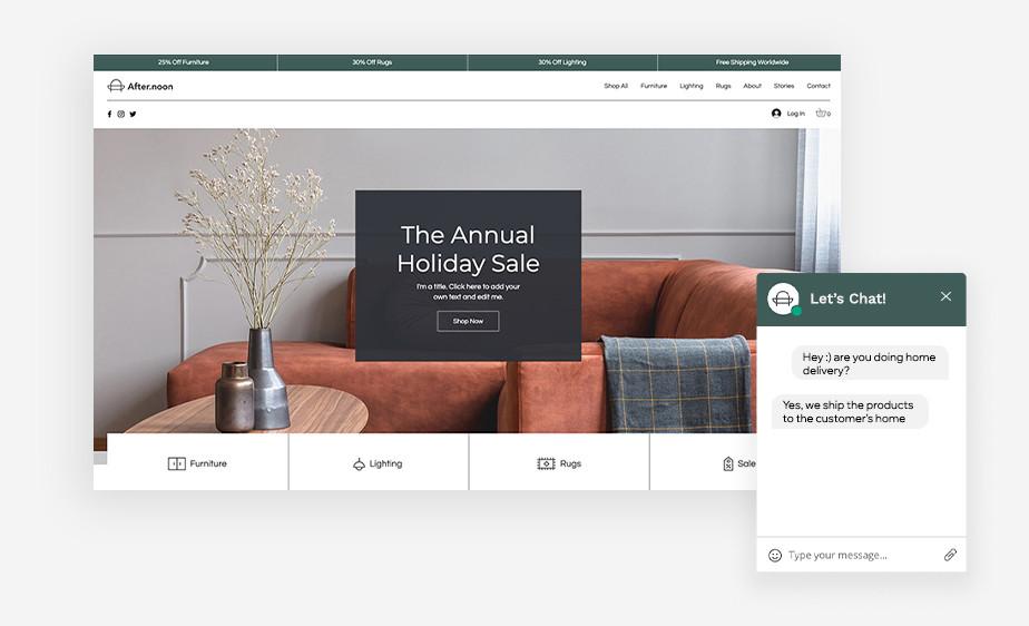 Plantilla de tienda online de Wix con una buena UX y con ventana de chat