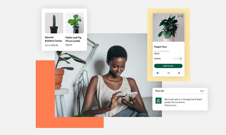 윅스 운영자 앱을 통해 비즈니스를 관리하는 여성 이미지