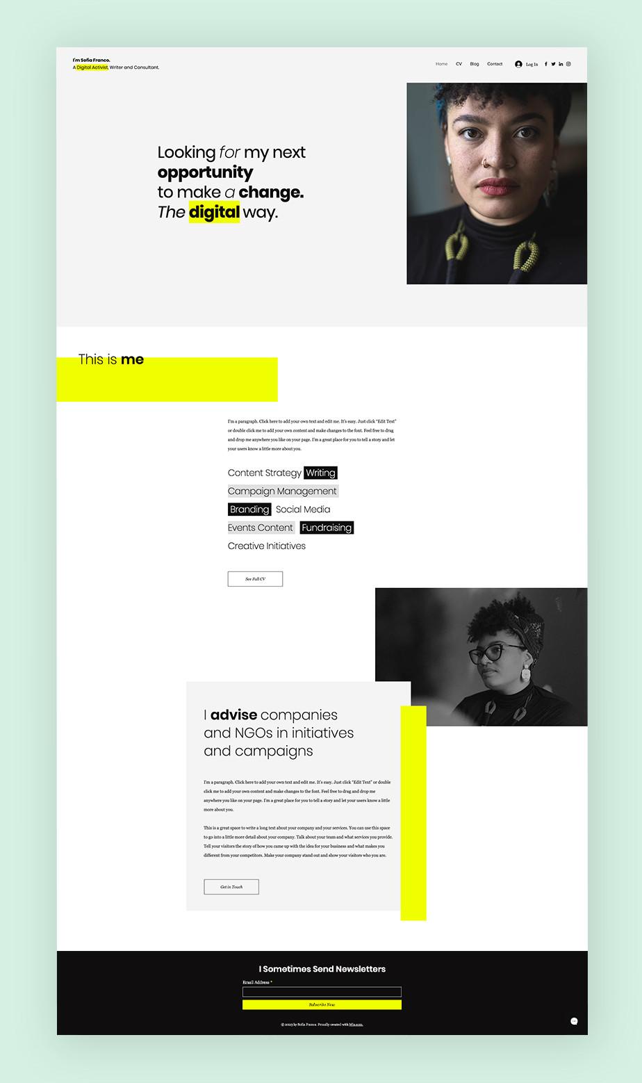 민트색과 형광 라임 색으로 모던한 패턴을 갖춘 이력서 웹사이트 이미지