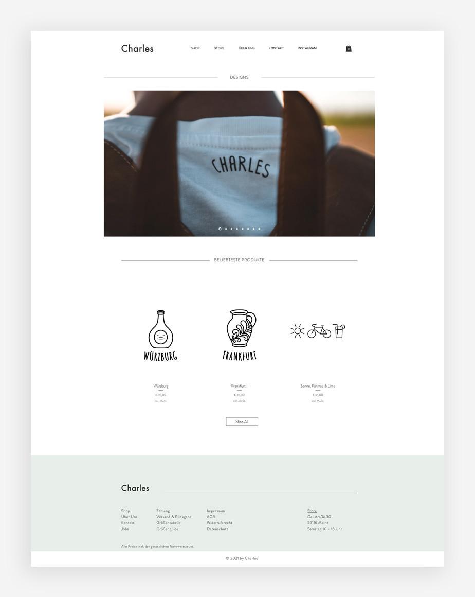 Screenshoot der Website von Charles Shirts