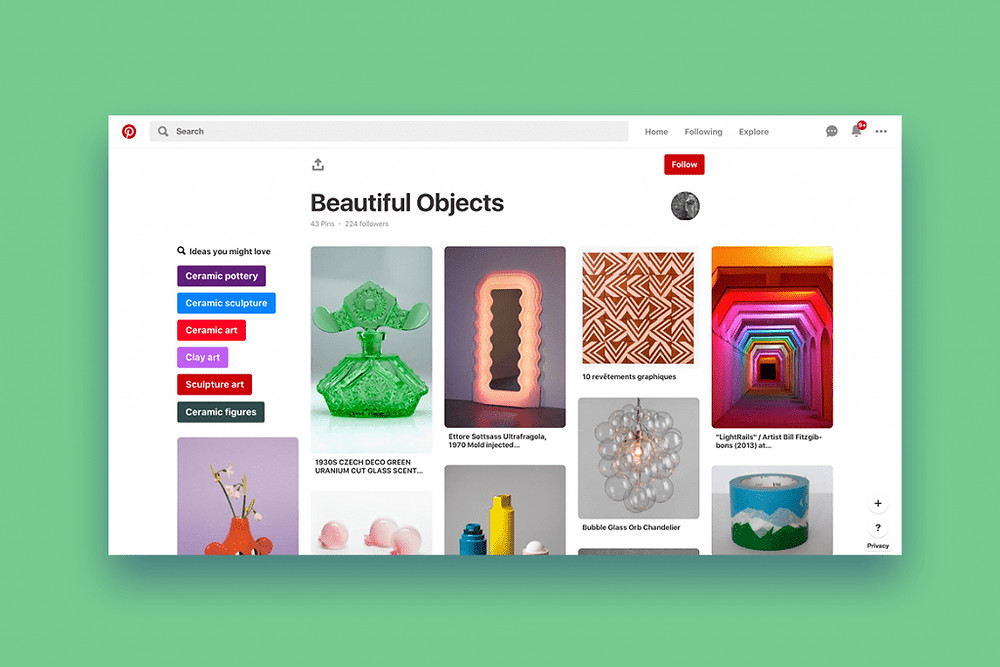 Beautiful Objects Pinterest board