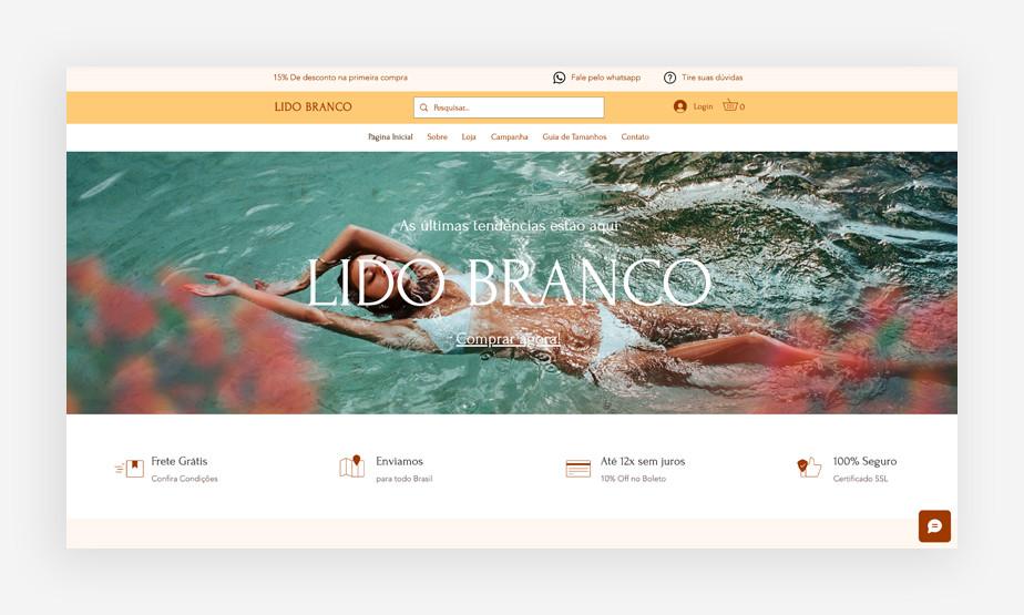 Exemplo de página inicial de site de eCommerce