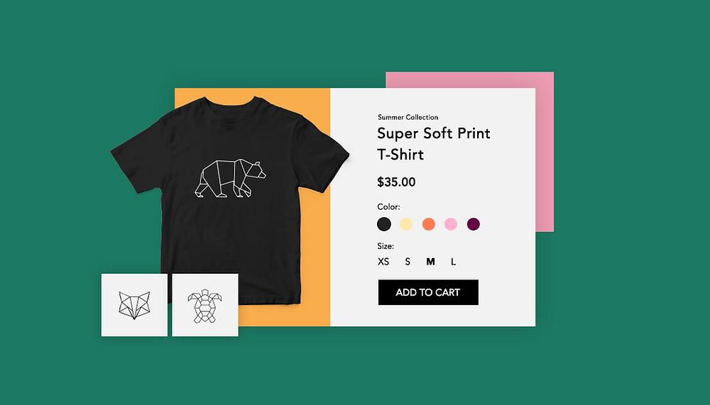 Bild eines T-Shirs mit Produktdetails eines online T-Shirt-Shops