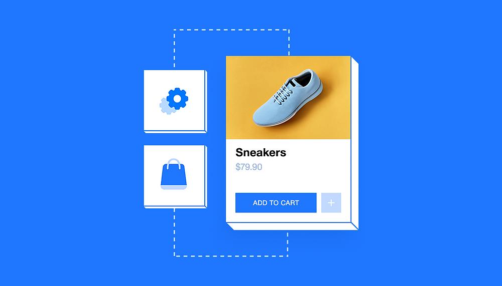 Ausschnitt aus einer Website mit Warenkorb und Icons, die Automatisierungen symbolisieren