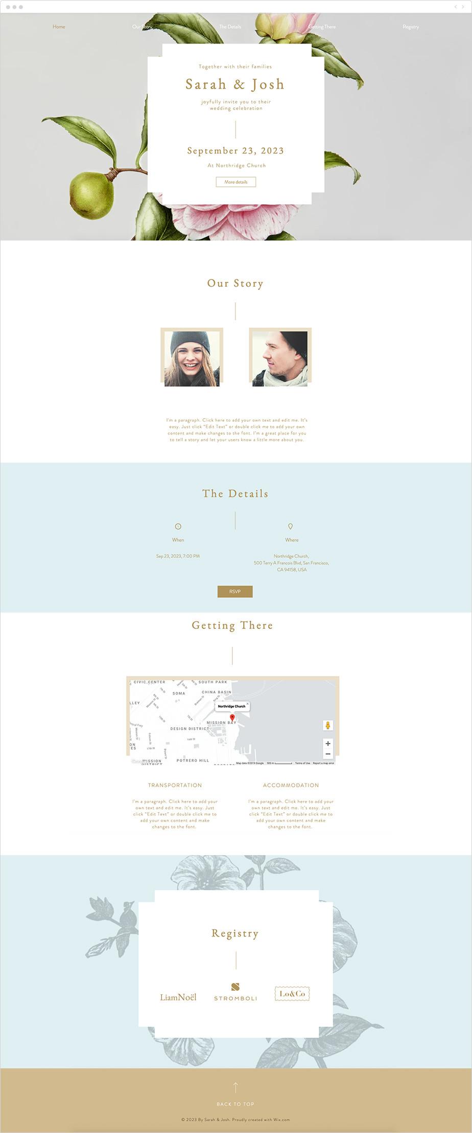 Plantilla web Wix para página web de boda romántica