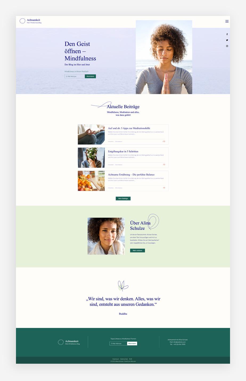 Ansicht eines Corporate Blog zum Theme Mindfulness
