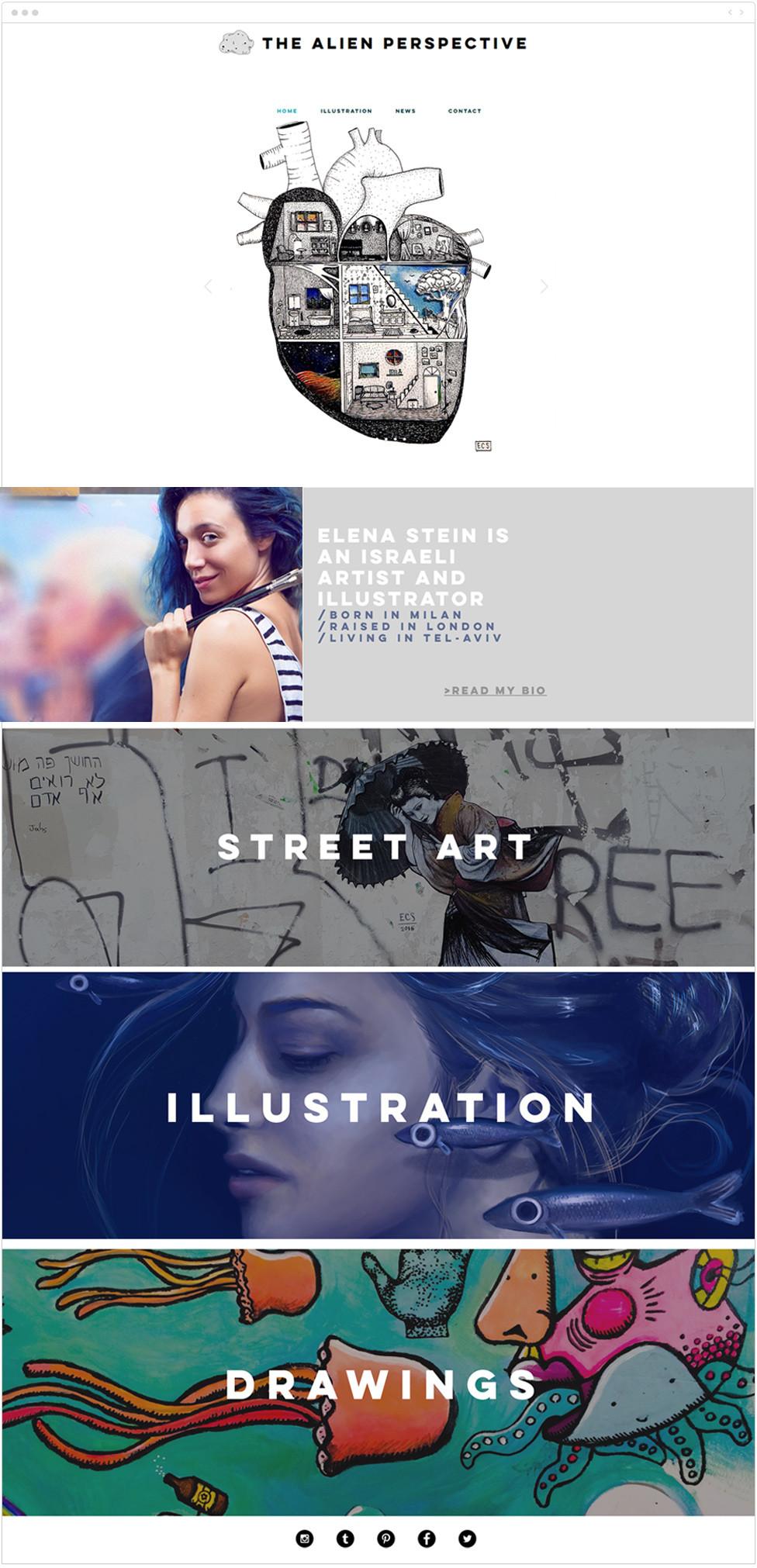 Portfolio website examples: The Alien Perspective