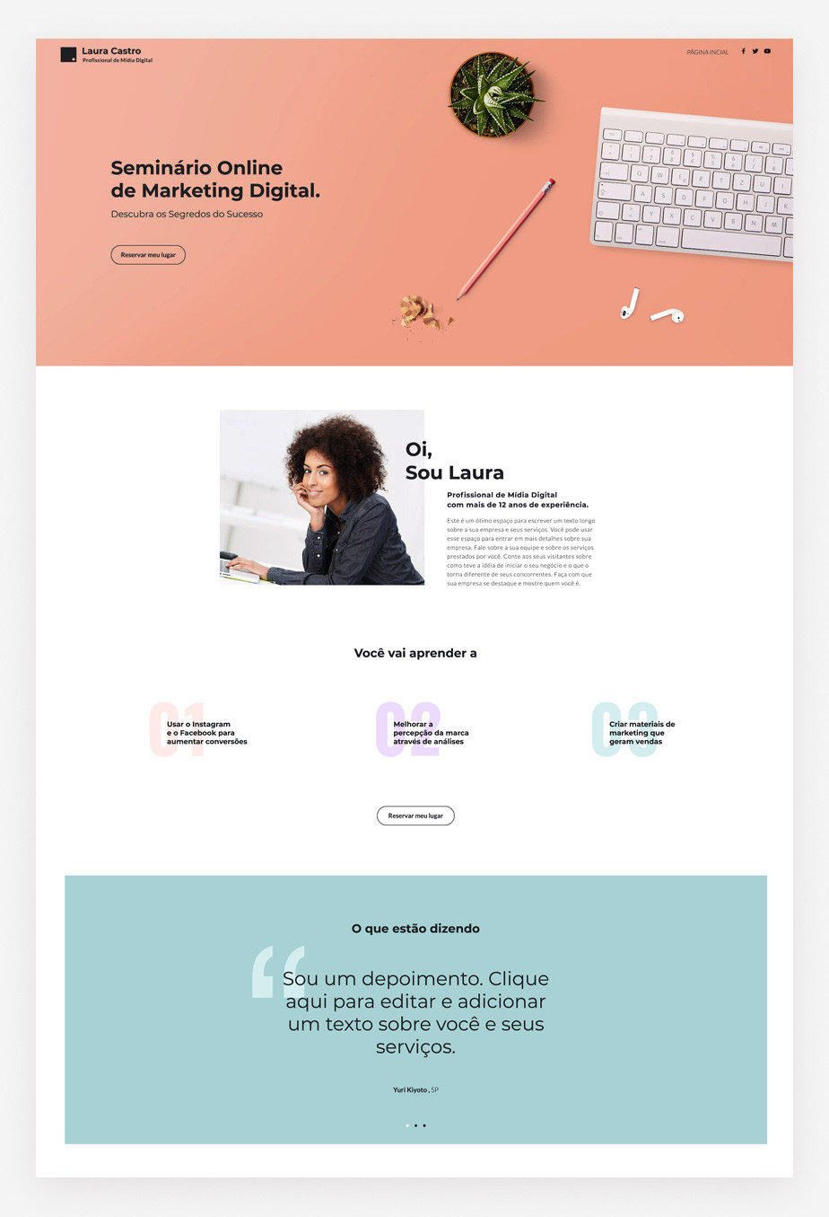 Exemplo de template de landing page