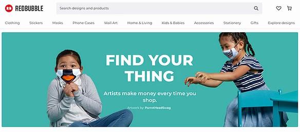 Screenshot der Website vom Print on Demand Service Redbubble