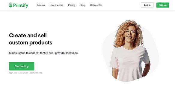 Screenshot der Website von Printify, einem Druck on Demand Anbieter