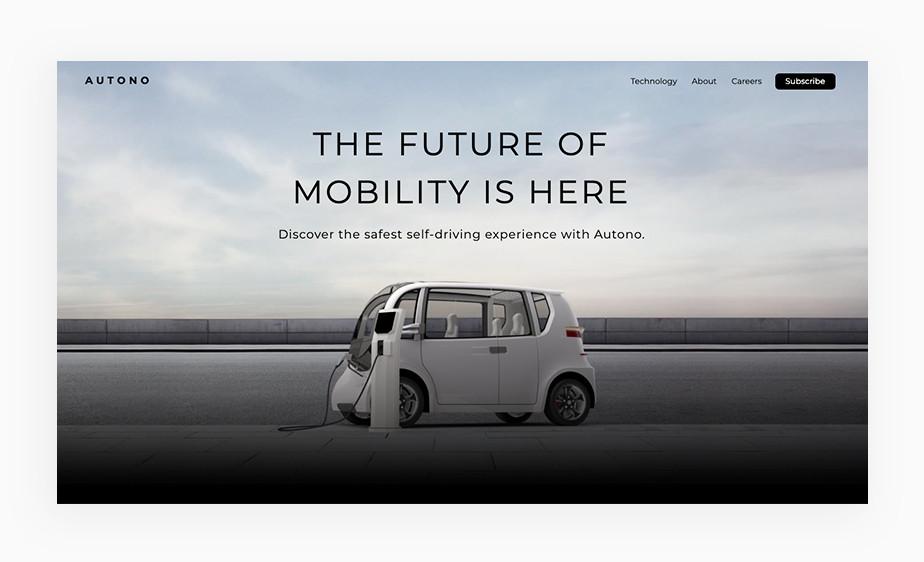 오토노 기업 웹사이트 메인 페이지의 깨끗하고 깔끔한 이미지의 흰 전기자동차 모습