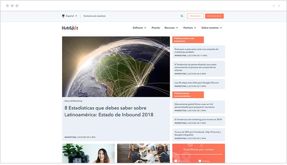Página de inicio del Blog de HubSpot en español