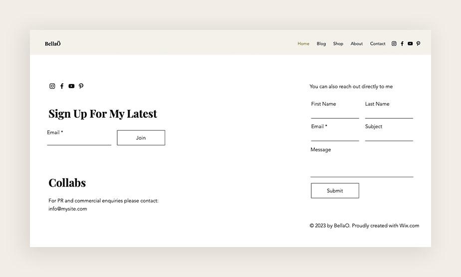 Pagina para suscribirse a un blog