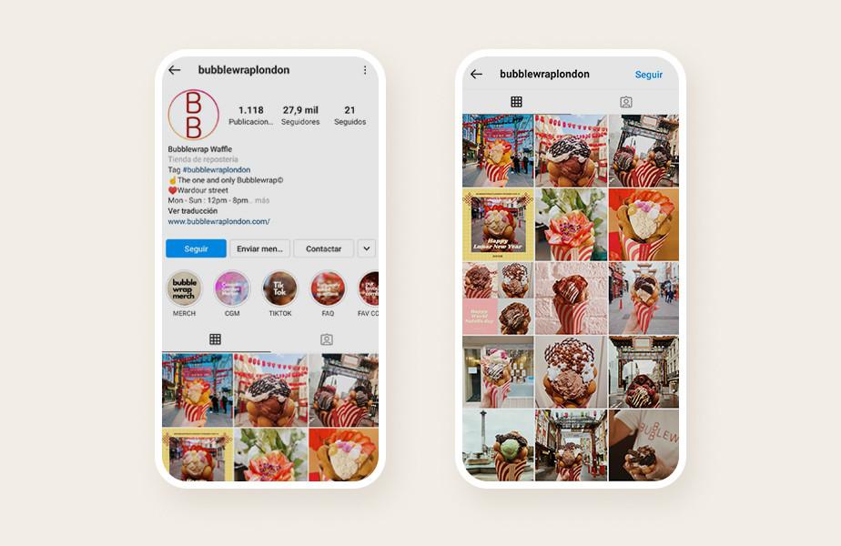 Ejemplo de un feed con diseño consistente de Instagram para tener mas seguidores