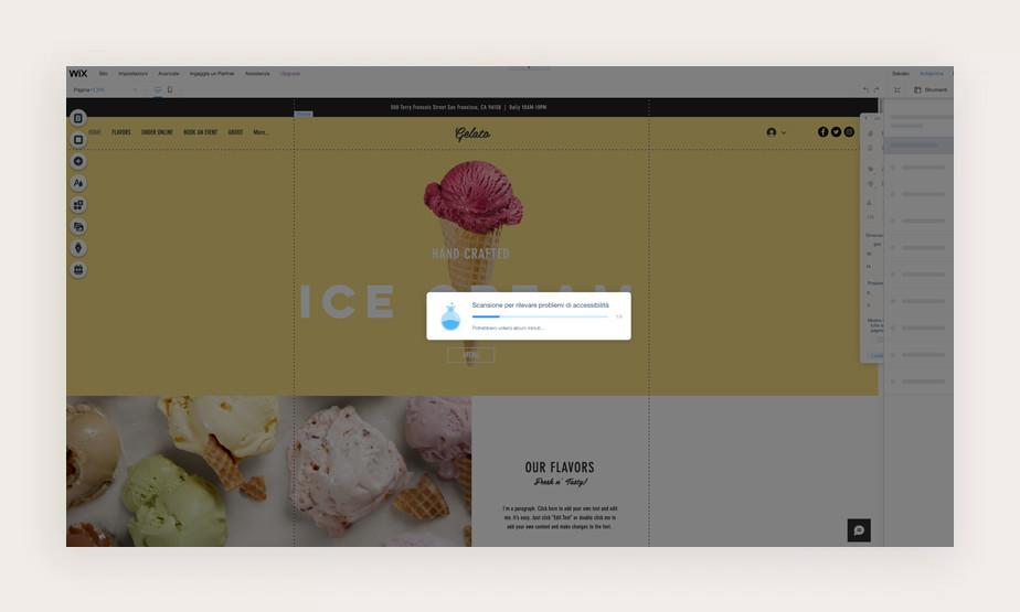 Wix Accessibility Wizard scansiona il sito alla ricerca di problemi