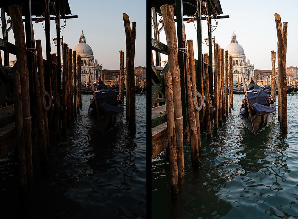 Zwei Ansichten eines Fotos von Booten in Venedig  in zwei verschiedenen Stadien der Bildbearbeitung