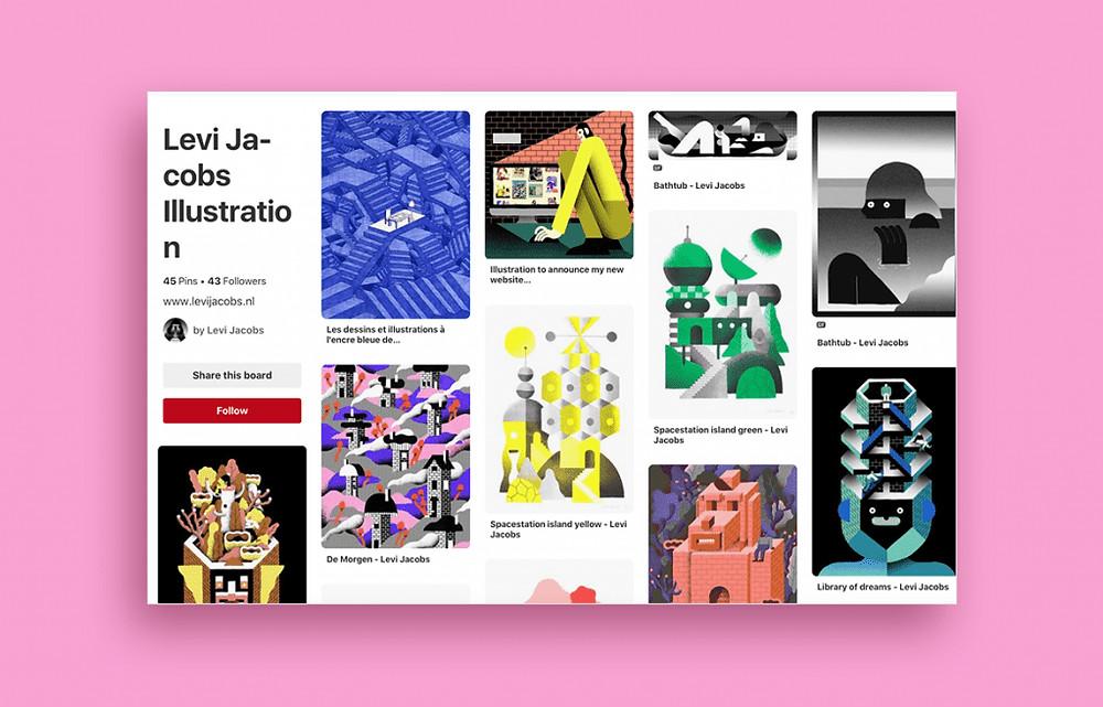 Pinterest board by illustrator Levi Jacobs