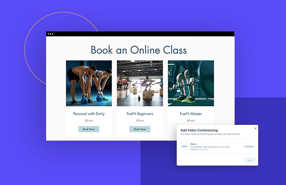 Voorbeeldpagina van online lessen met opties voor beginners en gevorderden