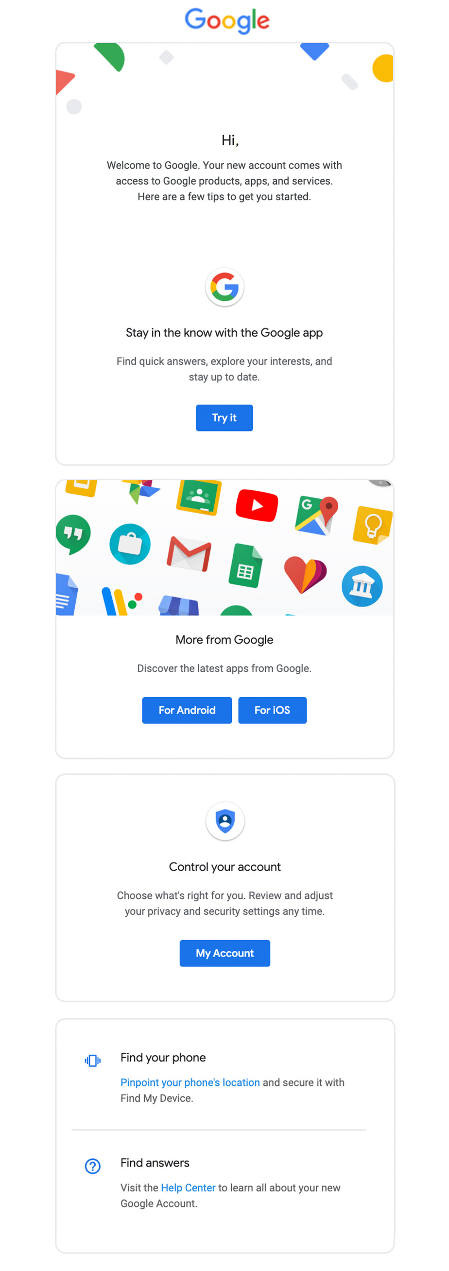 Welcome email by Google