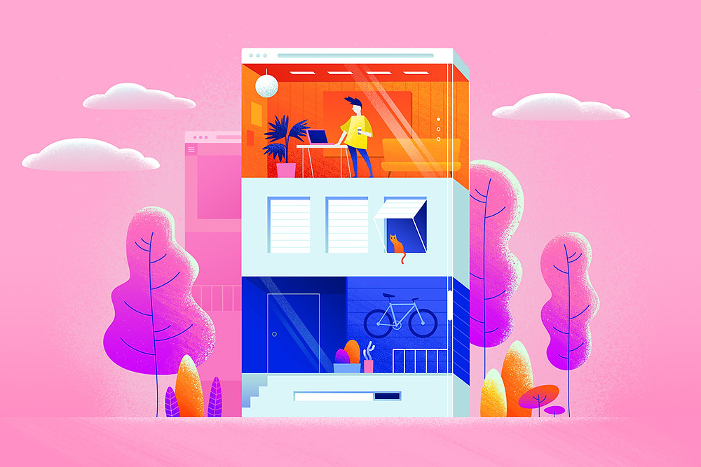 Illustration of websites for UX design research and inspiration