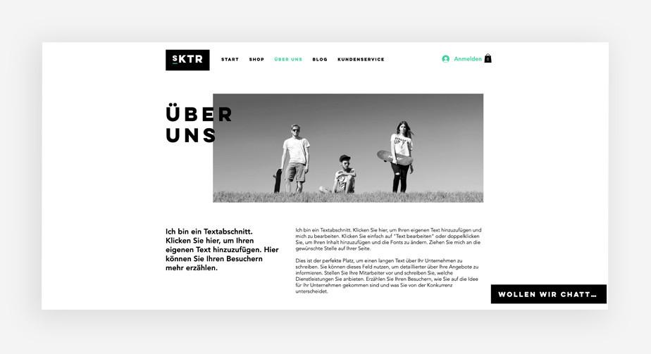 """Die """"über uns"""".Seite eines Website Templates"""