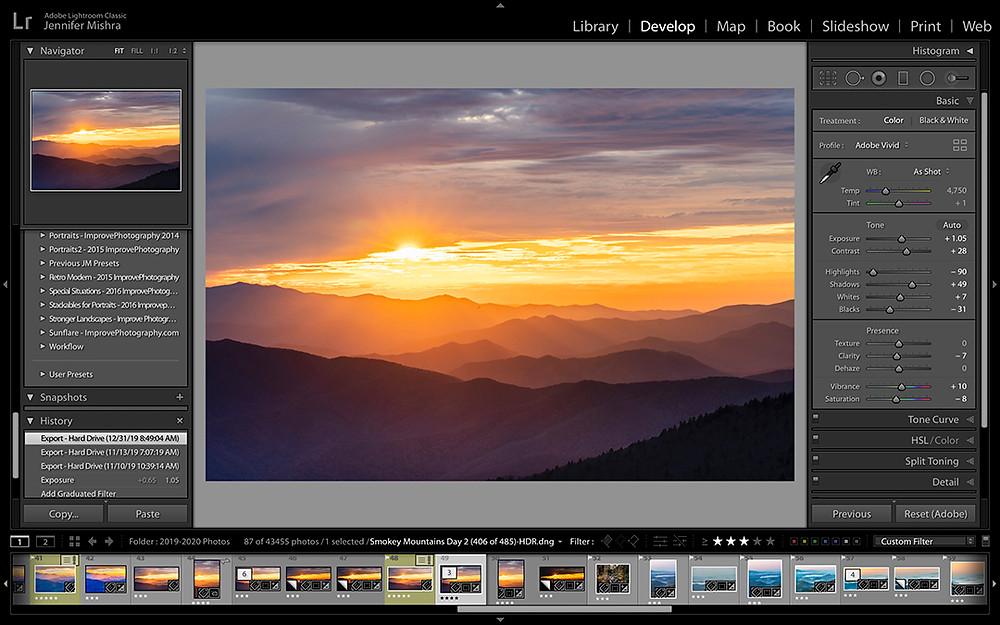 Foto eines Sonnenuntergangs welches in Adobe Lightroom bearbeitet wird