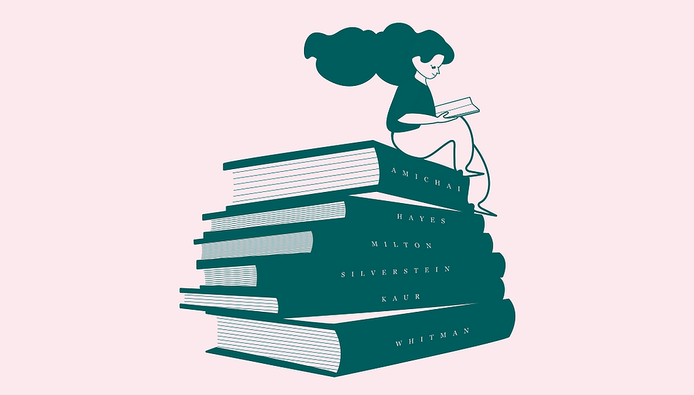 Woman reading must-read poetry books