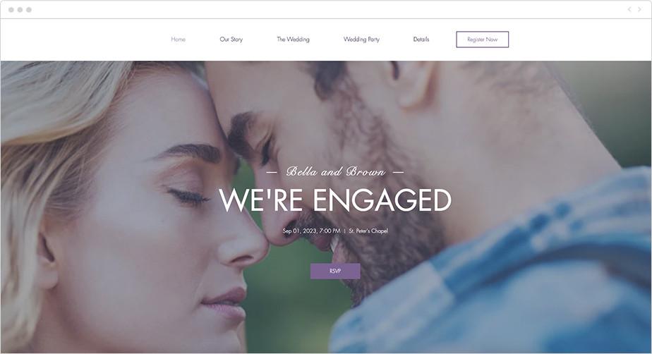 Plantilla Wix para página web de anuncio de compromiso