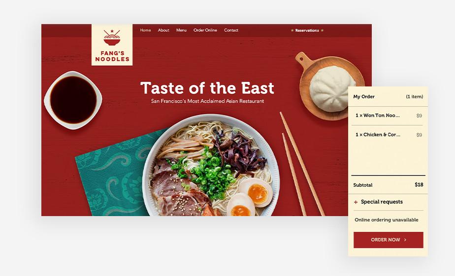 Plantilla de página web de restaurantes con una buena UX y un formulario de pedidos