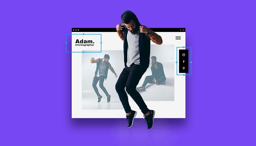 Bild mit springendem Mann im Kaputzenpullover