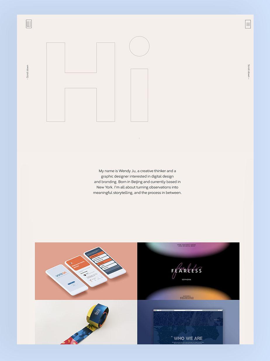 Wendy Ju geanimeerde graphic design portfolio