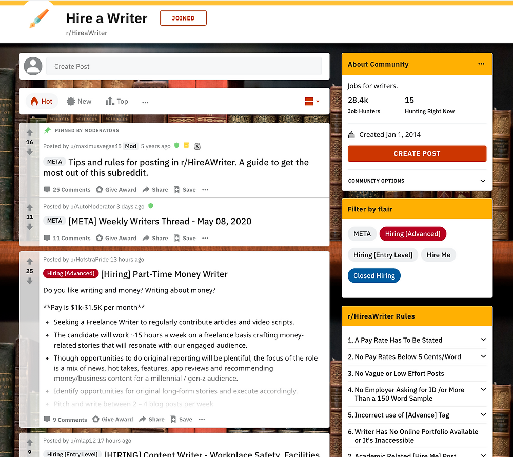 Find freelance writing job on Reddit
