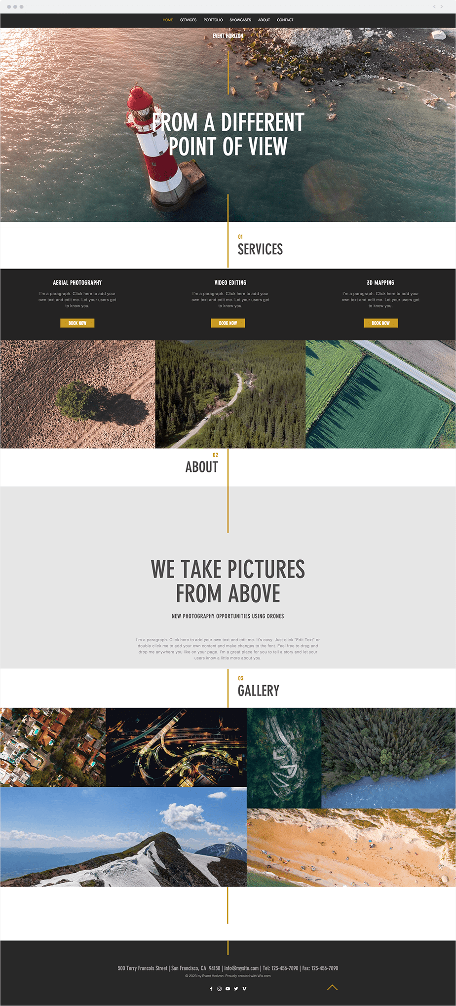Wix Template - Aerial Photography